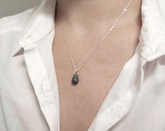 Black drop silver necklace Thin layering necklace Delicate dainty necklace Dainty delicate necklace Silver layered necklace Silver layering
