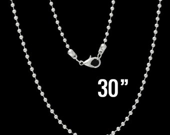 "300 Necklaces 2.4mm Ball Chains -  WHOLESALE -  Silver - 30"" Long  - Ships IMMEDIATELY from California - CH564e"