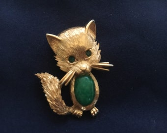 Emerald Fox Brooch