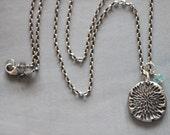 SUMMER SALE Sterling Silver Charm Necklace, Botanical, Floral, Apatite, Gemstone, Silver Charm, Minimalist, Rustic, Boho, 17 Inch, Rolo Chai