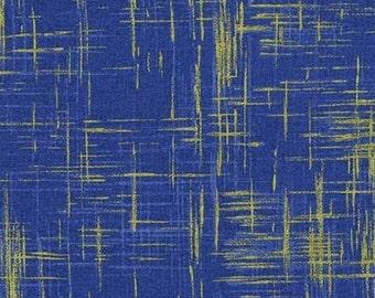 Michael Miller - Valencia - Painter's Canvas - Blue/Metallic