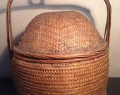 Vintage woven Chinese lidded basket with handle