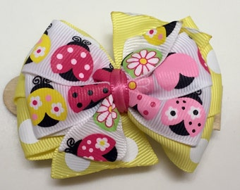 Pink, Yellow, Green Polka Dot LADYBUG SPRING Glitter Button Stacked Boutique Style Ribbon Handmade for PETS Dog Bow Collar Accessory