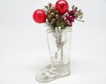 1940's Santa's Glass Boot Candy Container for Christmas,  Vintage J H MILLSTEIN CO Jeanette PA