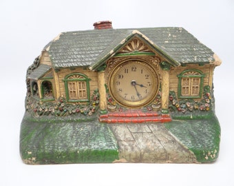 Antique Bungalow Mantel Clock by the Deluxe Clock Co, New York