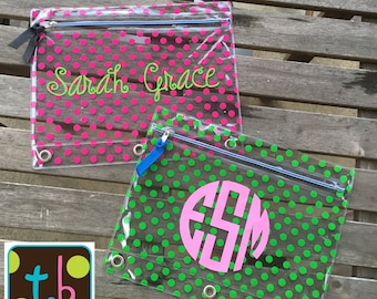 Girls Polka Dot Monogram Personalized Pencil Pouch Pencil Case