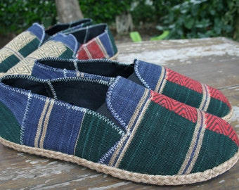 Vegan Mens Shoes Loafer Style Espadrilles in Blue Green And Red Ethnic Naga Tribal Textiles - Morgan