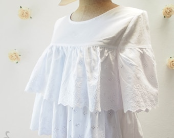 White Dreamy Blouse - Lace Layer Blouse - Beach Style - Summer Fluffy Blouse - White Blouse - Size M