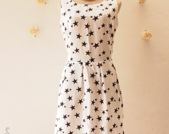 CLEARANCE Sale -Star Dress White Sleeveless Dress Summer Dress Black and white Party Dress- Size M (US6-8))
