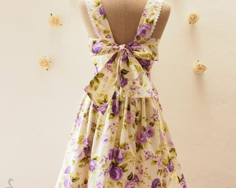 FAIRY WING - Purple Rose Dress, Purple Floral Dress, Backless Dress, Back Bow Party Dress, Cute Sundress, Rustic Wedding, xs-xl, custom