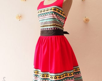 SALE Summer Dress Chic Tribal Dress Lookbook Dress Red Hipster Party Dress Modern Vintage Sundress Hippie Dress Boho Dress -SIZE xs-xl, cust
