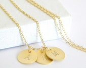 Gold Initial Necklace - Choose Up to 4 Disc Pendants