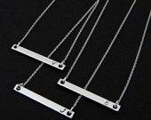 Silver Sideways  Bar Initial Layering Horizontal Necklace
