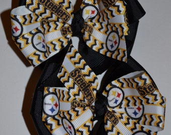 Pittsburgh Steelers Set of Two Hair Bows Football NFL