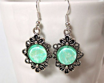 Silver and Green Filigree Dangle Earrings