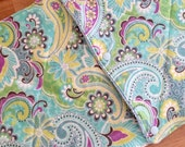 Cloth UnPaper Towels made with Flannel and terry Cloth Paisley purple lime green pink aqua white Set of 10