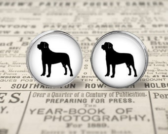 Mastiff Dog Button Earrings