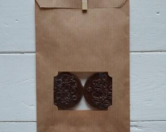 Bundel van 100 kraft papieren cadeauzakjes met venster for Papieren kraft zakjes