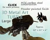 LARGE Turtle Metal Art, Lawn Art, Garden Art by Brown-Donkey Designs