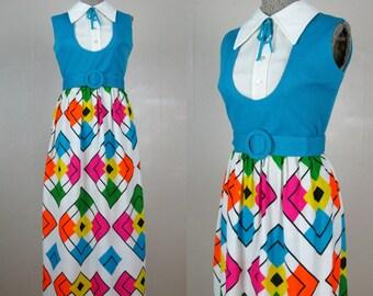 Vintage 1960s 1970s Maxi Dress Hip To Be Square 60s 70s Geometric Print Dress Size 8M