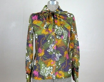25% Off Summer Sale.... Vintage 1970s Sheer Blouse 70s Brightly Colored Floral Blouse with Ascot Size 4 Small