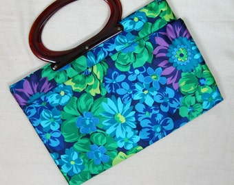 Vintage 1960s Lady's Pride Handbag 60s Bright Blue Floral Expandable Purse