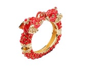 Republican Gifts, KJL Elephant Head Bracelet, Red Bangle, Cabochons, Crystal Pave, Hinged Clamper, Kenneth Jay Lane Jewelry