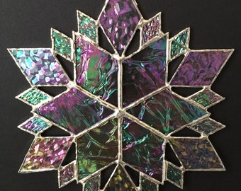 stained glass snowflake suncatcher  (design 36C)