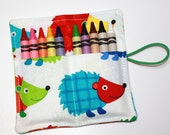 Crayon Rolls Party Favors, Hedgehogs, holds 10 Crayons, Woodland Animals Birthday Party Favors, crayon wraps, crayon sleeves, crayon bags