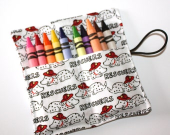 Crayon Rolls Party Favors! Firehouse Fire Dogs Dalmatians Rescuers, holds 10 Crayons, Firetrucks Birthday Party Favors