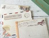 10 mini envelopes vintage style patterned scrapbooking wedding - notecard envelope - snail mail - craft supplies uk - wedding invite - etsy
