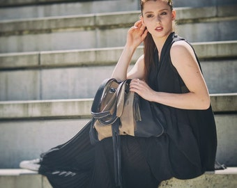 bag big oversize handbag handmade ladybuq Marlena Beige and Graphite
