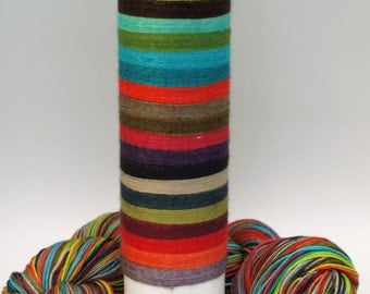 Self Striping Fingering Weight Sock Yarn, Wool and Nylon, 20 Color Stripe, Hand Dyed, Let's Dress Crazy
