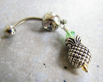 Pineapple Belly Button Jewelry, Tropical Belly Button Ring, Hawaiian Navel Piercing, Silver Pineapple Jewelry