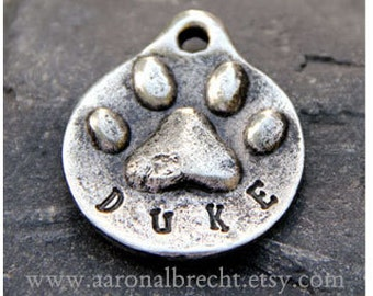 Dog Tag - Dog ID Tag - Pet Tag - Dog Tags Custom Pewter Paw Print