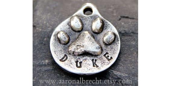 Dog Tag - Dog ID Tag - Pet Tag - Dog Tags Custom Pewter Paw Print