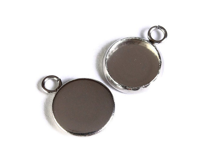 10mm Stainless Steel tray Pendant - 10mm 304 Stainless Steel cabochon settings - Silver findings (1686) - Flat rate shipping