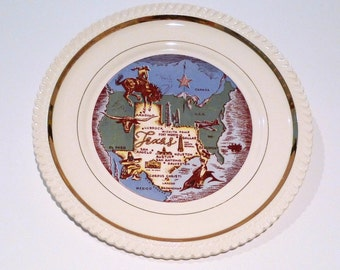 State of Texas Plate Vintage The Biggest State Texas Souvenir Plate Bragging Bigger in Texas Bucking Bronco Longhorn Cowgirl Oil Well Plane