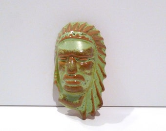 Frankoma Pottery Native American Mask Vintage Face of Indian Chief Prairie Green Glaze Clay Oklahoma Wall Hanging Mold #135 Bust Head