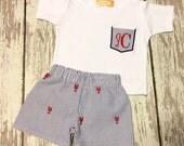 Crawfish/lobster seersucker stacked monogram Set for Boys, seersucker set for boys, baby crawifsh/seersucker set, crawfish seersucker shorts