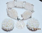 RESERVED for Y* Vintage Carved MOP Bracelet Beaded Earrings