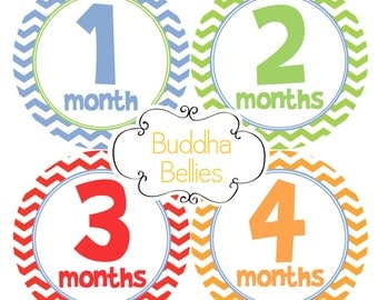 READY to SHIP Baby Boy Month to Month Stickers Baby Monthly Stickers Month Chevron Baby Stickers B163