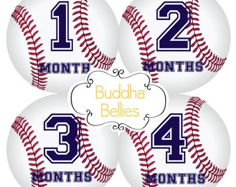 Baby Boy Monthly Sticker Set for Baby Boy Baby Month Stickers Baseball Nursery Sports Baby Shower Gift Newborn Photo Bodysuit Stickers B115