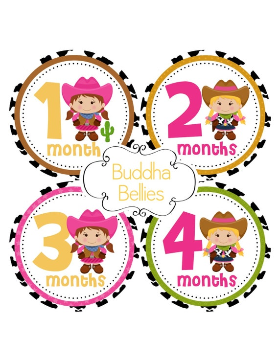 Cowgirl Baby Monthly Stickers Western Baby Shower Gift Baby Girl Cowboy Month Baby Stickers Baby Decals Calendar Photo Stickers