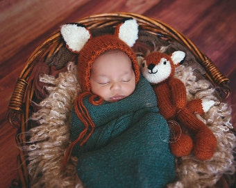Baby Fox bonnet and plush set newborn to 12 months size