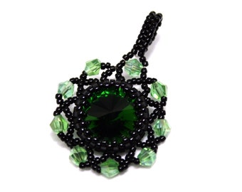 Black pendant necklace, Green Seed bead Crystal jewelry, Beaded pendant necklace, Beadwork Jewelry