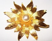 "Flower Brooch Pin Gold Metal Layered White Pearl Stone Center 2"" Vintage 1960s"