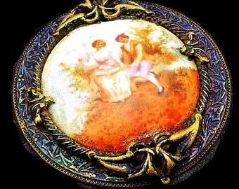 "Victorian Porcelain Brooch Hand Painted Lovers Scene Blue Enamel Repousse Brass BIG 2.5"" Vintage"