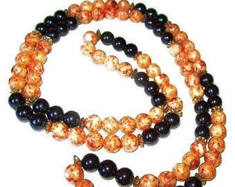 "Glass Bead Necklace Black & Orange Marbled Color Stones Gold Spacers No Clasp 34"" Vintage"