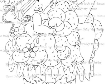 INSTANT DOWMLOAD Digital Digi Stamps Big Eye Big Head Dolls Digi Img071 New Fluffy Besties Tm Meet Fluffy CUPCAKE By Sherri Baldy
